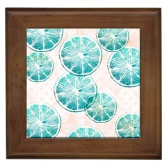 Turquoise Citrus And Dots Framed Tiles by DanaeStudio