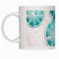 Turquoise Citrus And Dots White Mugs by DanaeStudio