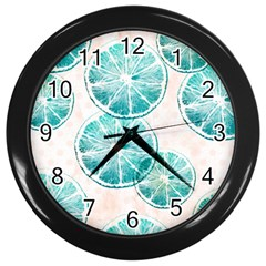 Turquoise Citrus And Dots Wall Clocks (black) by DanaeStudio