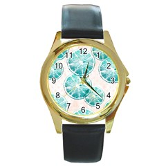 Turquoise Citrus And Dots Round Gold Metal Watch by DanaeStudio