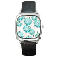 Turquoise Citrus And Dots Square Metal Watch by DanaeStudio