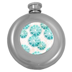Turquoise Citrus And Dots Round Hip Flask (5 Oz) by DanaeStudio