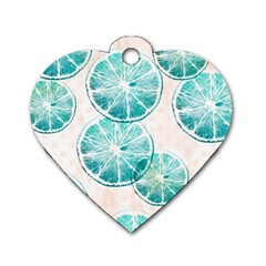 Turquoise Citrus And Dots Dog Tag Heart (Two Sides) by DanaeStudio
