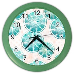 Turquoise Citrus And Dots Color Wall Clocks by DanaeStudio