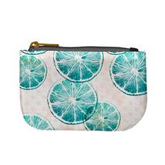 Turquoise Citrus And Dots Mini Coin Purses by DanaeStudio