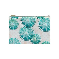 Turquoise Citrus And Dots Cosmetic Bag (medium)  by DanaeStudio