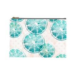 Turquoise Citrus And Dots Cosmetic Bag (large)  by DanaeStudio