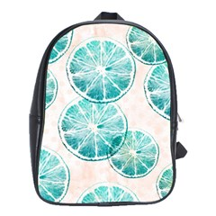 Turquoise Citrus And Dots School Bags(large)  by DanaeStudio