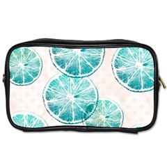 Turquoise Citrus And Dots Toiletries Bags by DanaeStudio