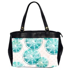 Turquoise Citrus And Dots Office Handbags (2 Sides)  by DanaeStudio