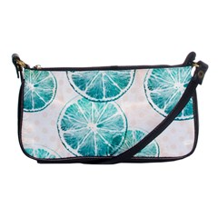 Turquoise Citrus And Dots Shoulder Clutch Bags by DanaeStudio