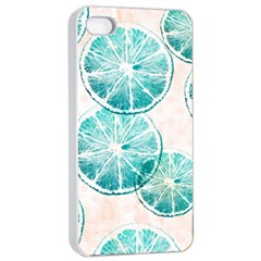 Turquoise Citrus And Dots Apple Iphone 4/4s Seamless Case (white) by DanaeStudio