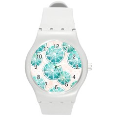 Turquoise Citrus And Dots Round Plastic Sport Watch (m) by DanaeStudio
