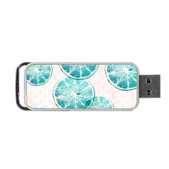 Turquoise Citrus And Dots Portable Usb Flash (one Side) by DanaeStudio
