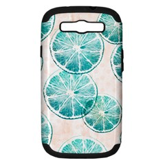 Turquoise Citrus And Dots Samsung Galaxy S Iii Hardshell Case (pc+silicone) by DanaeStudio