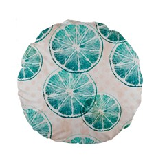 Turquoise Citrus And Dots Standard 15  Premium Round Cushions by DanaeStudio