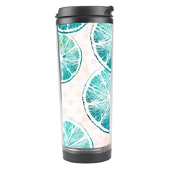 Turquoise Citrus And Dots Travel Tumbler by DanaeStudio