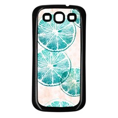 Turquoise Citrus And Dots Samsung Galaxy S3 Back Case (black) by DanaeStudio