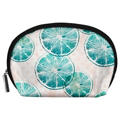 Turquoise Citrus And Dots Accessory Pouches (large)  by DanaeStudio
