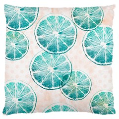 Turquoise Citrus And Dots Large Flano Cushion Case (two Sides) by DanaeStudio