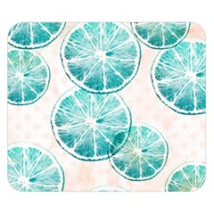 Turquoise Citrus And Dots Double Sided Flano Blanket (small)