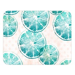 Turquoise Citrus And Dots Double Sided Flano Blanket (large)
