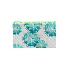 Turquoise Citrus And Dots Cosmetic Bag (xs)