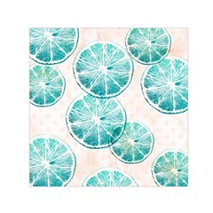 Turquoise Citrus And Dots Small Satin Scarf (square)