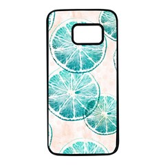 Turquoise Citrus And Dots Samsung Galaxy S7 Black Seamless Case by DanaeStudio