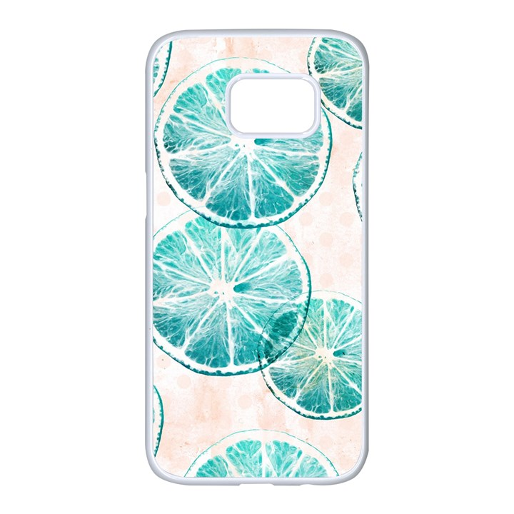 Turquoise Citrus And Dots Samsung Galaxy S7 edge White Seamless Case