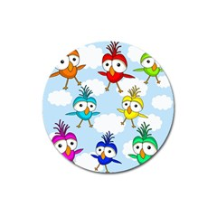 Cute Colorful Birds  Magnet 3  (round) by Valentinaart