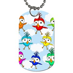Cute Colorful Birds  Dog Tag (two Sides) by Valentinaart