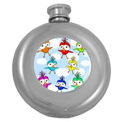 Cute Colorful Birds  Round Hip Flask (5 Oz) by Valentinaart
