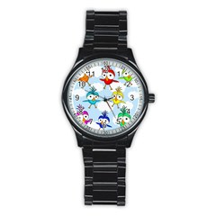 Cute Colorful Birds  Stainless Steel Round Watch by Valentinaart