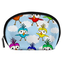 Cute Colorful Birds  Accessory Pouches (large)  by Valentinaart
