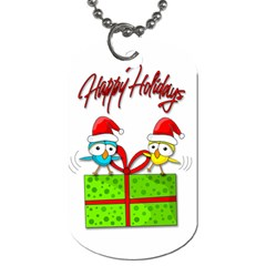 Cute Xmas Birds Dog Tag (one Side) by Valentinaart