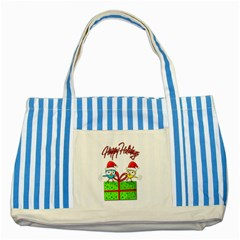Cute Xmas Birds Striped Blue Tote Bag by Valentinaart