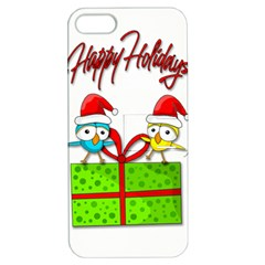 Cute Xmas Birds Apple Iphone 5 Hardshell Case With Stand by Valentinaart