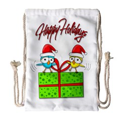 Cute Xmas Birds Drawstring Bag (large) by Valentinaart