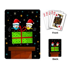 Cute Christmas Birds Playing Card by Valentinaart