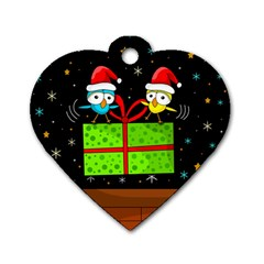 Cute Christmas Birds Dog Tag Heart (two Sides) by Valentinaart