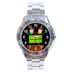 Cute Christmas Birds Stainless Steel Analogue Watch by Valentinaart
