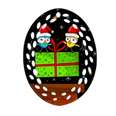 Cute Christmas Birds Ornament (oval Filigree)  by Valentinaart