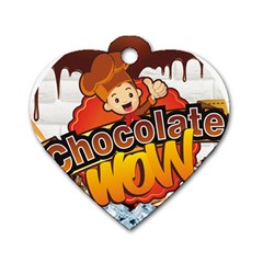 Chocolate Wow Dog Tag Heart (one Side) by Onesevenart