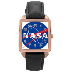 Nasa Logo Rose Gold Leather Watch  by Onesevenart