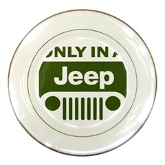Only In A Jeep Logo Porcelain Plates by Onesevenart