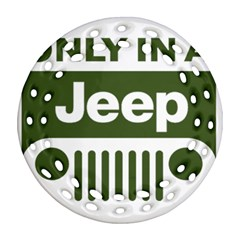 Only In A Jeep Logo Ornament (round Filigree)  by Onesevenart