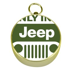 Only In A Jeep Logo Gold Compasses by Onesevenart
