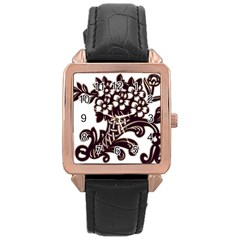 Purple Wood Ornaments Rose Gold Leather Watch  by Onesevenart
