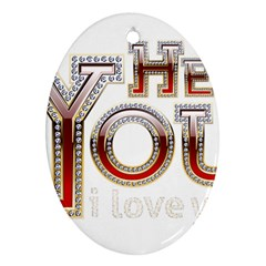 Hey You I Love You Ornament (oval)  by Onesevenart